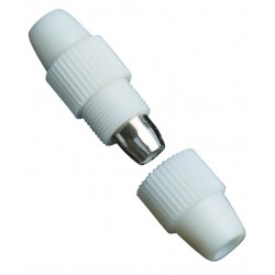 Empalmador cable coaxial cierre a rosca de las dos partes del cuerpo protector.