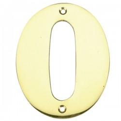 """Número puerta en latón pulido """"0"""""""