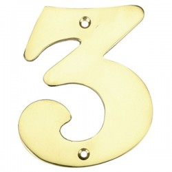 """Número puerta en latón pulido """"3"""""""