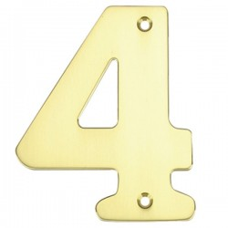 """Número puerta en latón pulido """"4"""""""