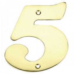 """Número puerta en latón pulido """"5"""""""