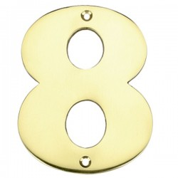 """Número puerta en latón pulido """"8"""""""