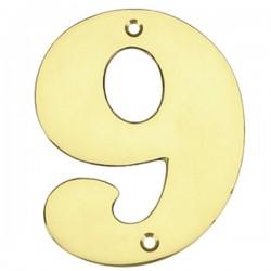 """Número puerta en latón pulido """"9"""""""