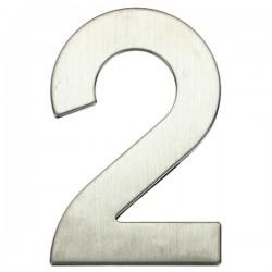 "Número puerta níquel satín ""2"""