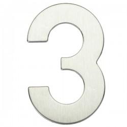 "Número puerta níquel satín ""3"""