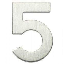 "Número puerta níquel satín ""5"""