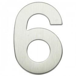"Número puerta níquel satín ""6"""