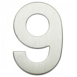 "Número puerta níquel satín ""9"""