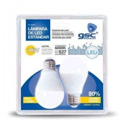 Pack 2 bombillas LED E27 10W 806Lm 160º Fría
