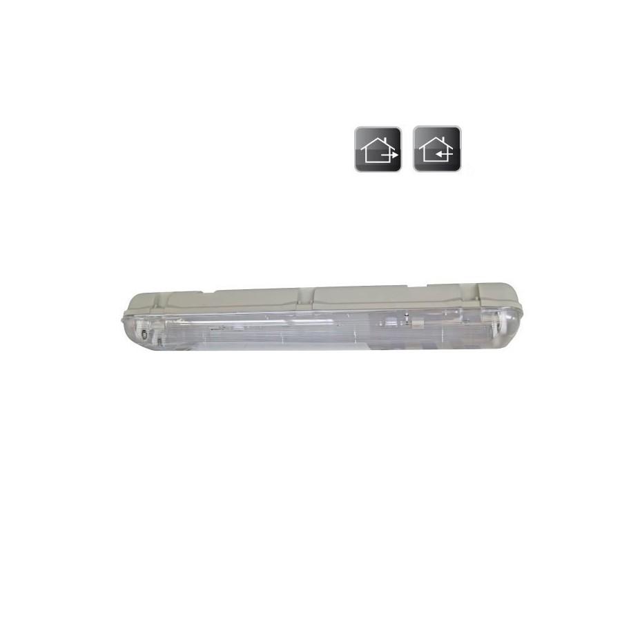 Pantalla luminosa para 2 tubos fluorescentes T8, estructura de ABS. 2x58W.