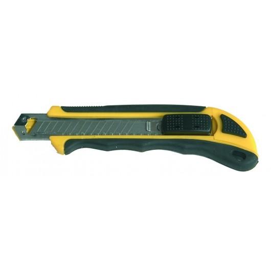 Cutter profesional de acero inoxidable con empuñadura de goma.