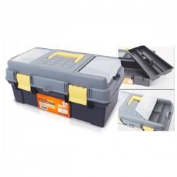 Caja de herramientas. 390x250x225mm. Doble fondo.