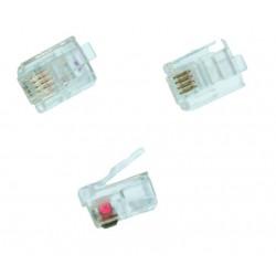 Conector telefonico modular, 6P/4C.Para cable plano.