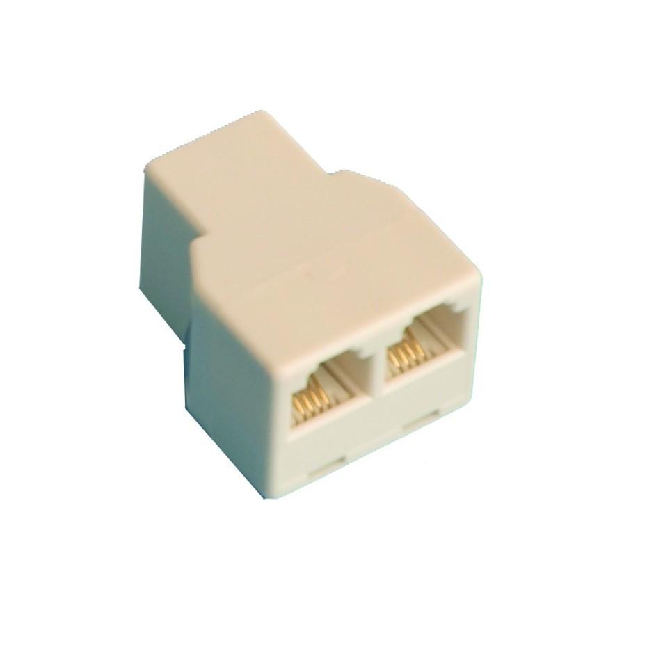 Adaptador Distribuidor modular doble,, 6P/4C,hembra a 2 hembras