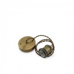 Portalámparas latón colgante E27 1M cable trenzado dorado
