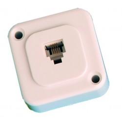 Base telefonica modular de superficie, Monteje a tornillo, 6P/4C.