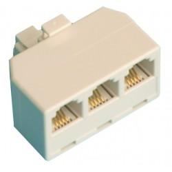 Distribuidor telefonico modular triple, 6P/4C.