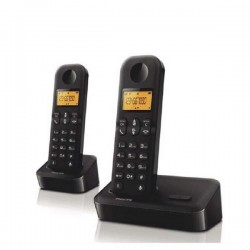 Teléfono inalámbrico Philips duo, 2 bases. Negros