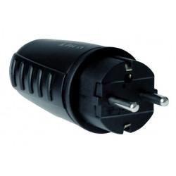 Clavija bipolar impermeable negra de goma + PVC con TT lateral y entrada de cable recta