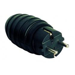 Clavija bipolar impermeable negra de caucho con TT lateral y entrada de cable recta