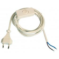 Conexión de cable plano con interruptor de paso, 2A 250V blanco