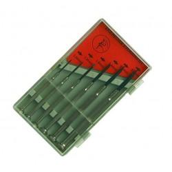Juego de 6 destornilladores de precisión planos en caja.