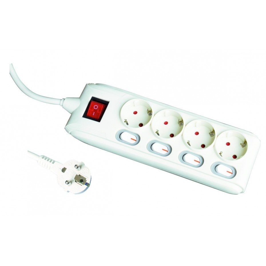 Base múltiple de 4 tomas (4T) más interruptor y cable eléctrico con interruptor individual