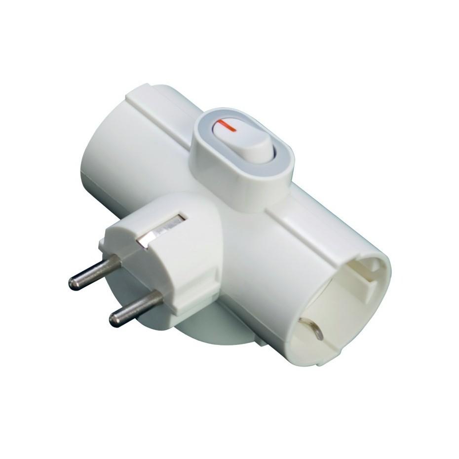 Base múltiple - Adaptador de triple salida con interruptor 2P + TT lateral