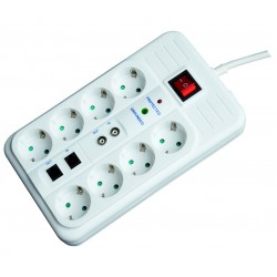 Base múltiple de 8 tomas (8T) sucko 16A-250V con interruptor y cable eléctrico para enchufe 2P + lateral blanca