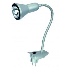 Lámpara Flexo aplique orientable con clavija para insertar directo a corriente gris con bombilla de incandescencia