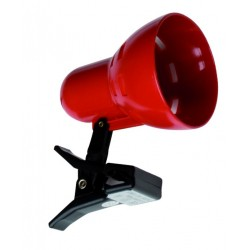 Lámpara Flexo con pinzas de sujección roja con bombilla de incandescencia