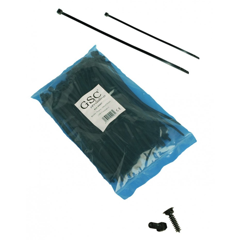 Bolsa de 100 unidades de bridas color negro, 100% nylon. 250x3,5.