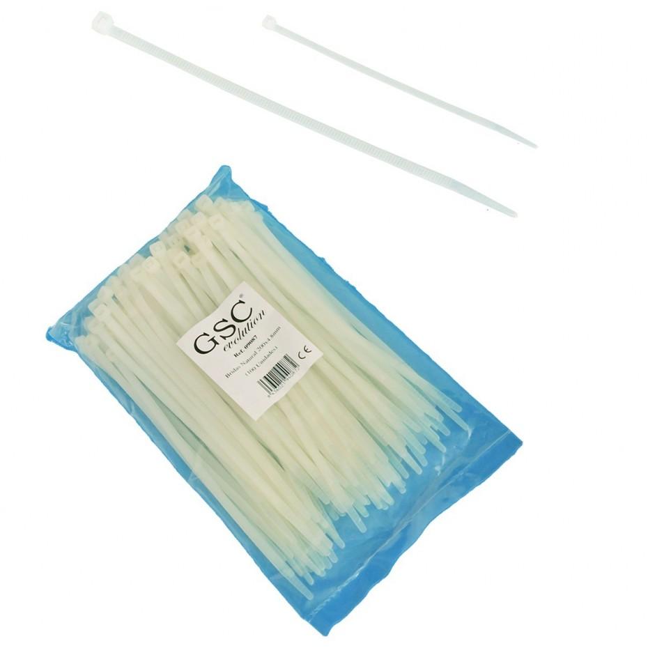 Bolsa de 100 unidades de bridas color natural, 100% nylon. 160x4,8.