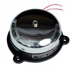Campana circular de acero auxiliar telefonico, 230V. 10cm. 86 dB. 350 gr. Gran sonoridad, para montar en superficie.