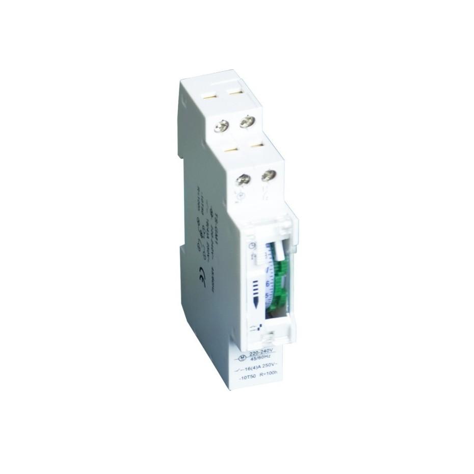 temporizador mecanico diario 24 horas diseñado para ser montado sobre guias DIN. Con reserva de 100 horas. 16A /230V-50 Hz.