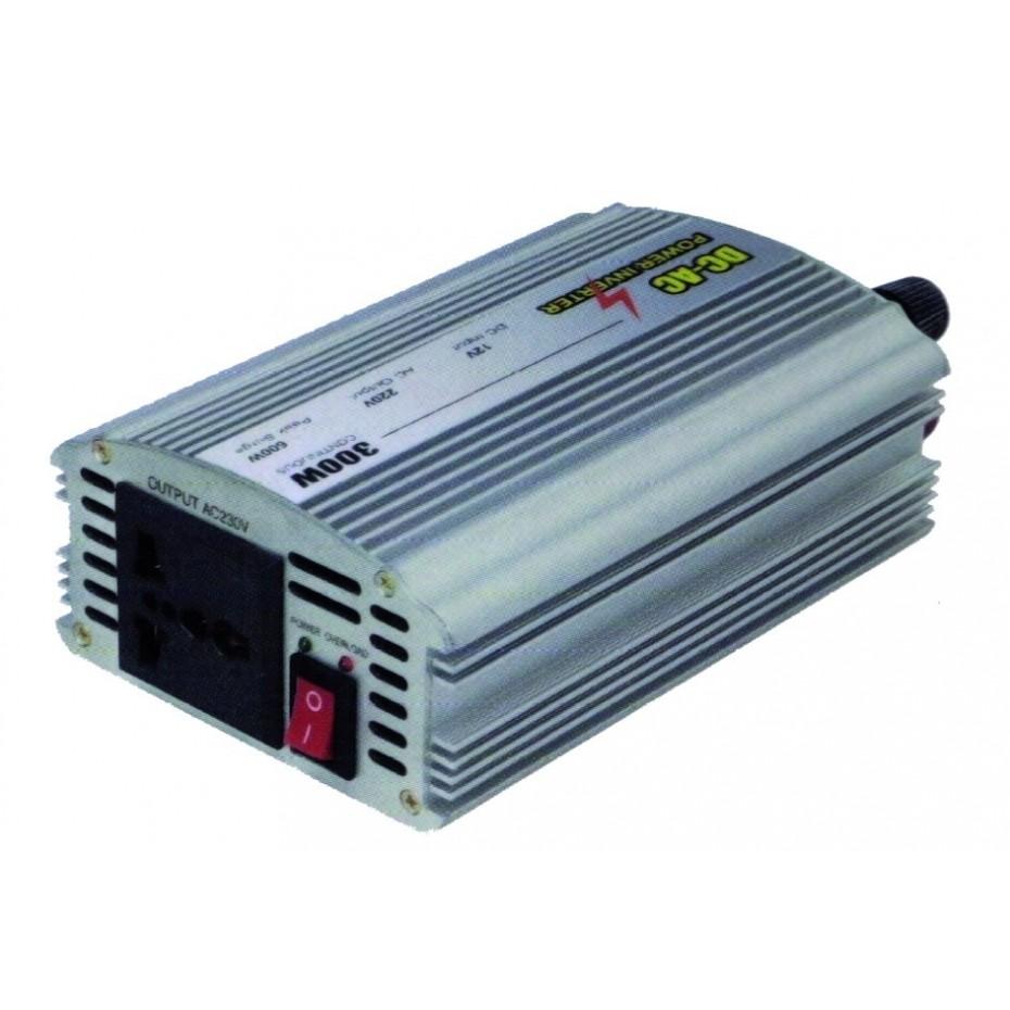 Convertidor/Inversor corriente de coche de 12V a 220V. 50Hz. 300W.