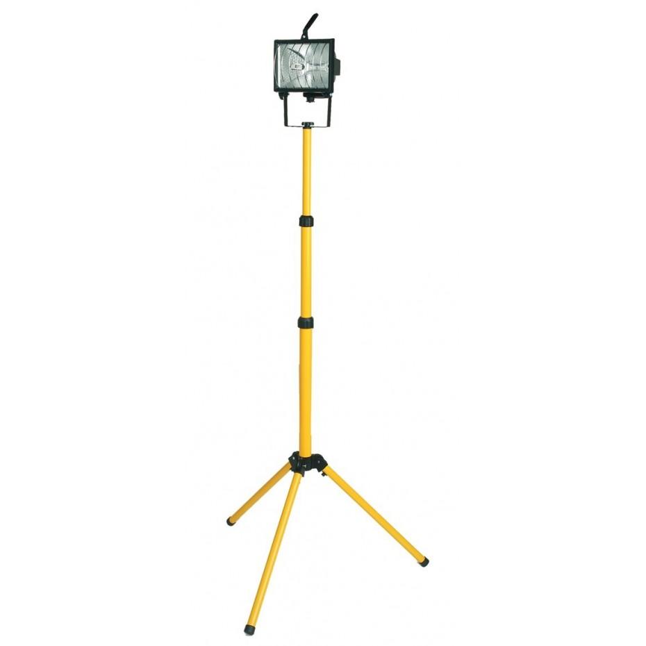 Foco halogeno movil con tripode telescopico y cable electrico para enchufe 2P+TT lateral.