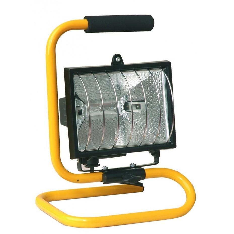 Foco halogeno movil con soporte metalico y cable electrico para enchufe 2P+TT lateral., 500 W.