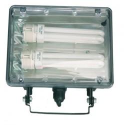 Foco con sujección giratoria variable para bombillas de bajo consumo, PL2x26W, 230V.-IP44, Color negro.