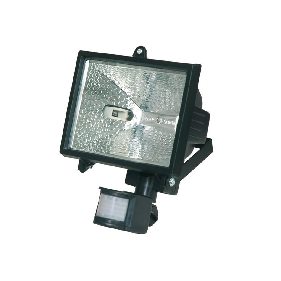 Foco halogeno con sujección giratoria variable, y sensor de movimiento. Blanco.