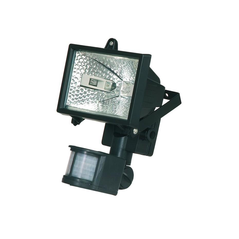 Foco halogeno con sujección giratoria variable, y sensor de movimiento. Negro, 150W.