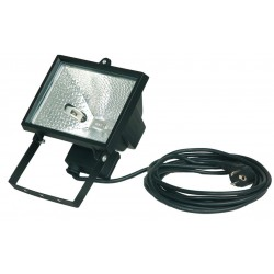 Foco halogeno de 500W con cable de 5 metros. IP44 Color negro.