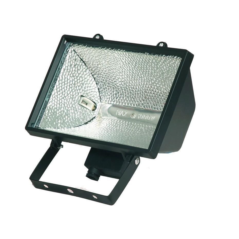 Foco halogeno con sujección giratoria variable, 1.000W, Negro.