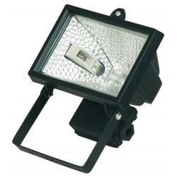 Foco halogeno con sujección giratoria variable, 150W, negro..