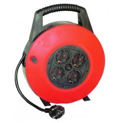 Extensible de cable electrico con 4 tomas, para enchufe 2P+TT lateral, 15 metros.