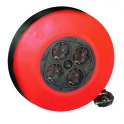 Extensible de cable electrico con 4 tomas, para enchufe 2P+TT lateral, 5 metros.(3x1,0mm)