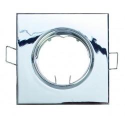 Aro basculante cuadrado empotrable en techo para lampara dicroica. MR16-12V-Máx.50W. Blanco.