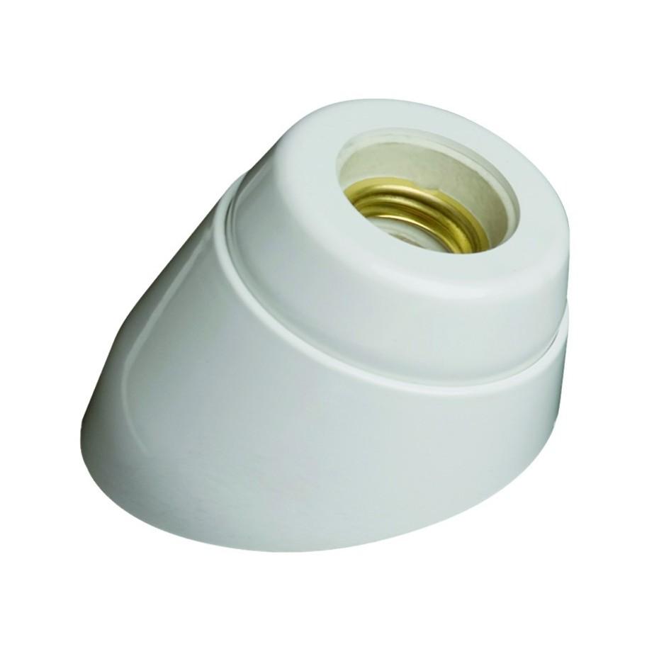 Portalámparas casquillo E27 de zócalo curvo color blanco. Resina urea e interior de porcelana